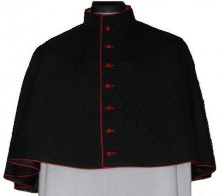 Black mozzetta with red trim MOZZ-CZ-C